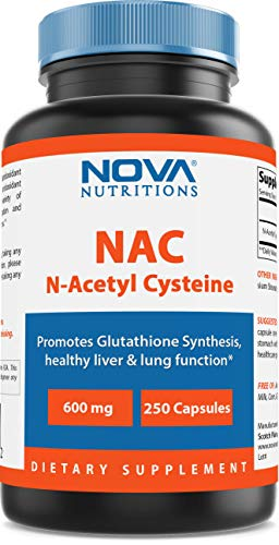 Nova Nutritions N-Acetyl L-Cysteine (NAC) 600mg - 250 Capsules (Non-GMO & Gluten Free)