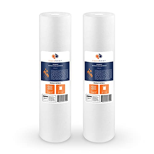Aquaboon 5 Micron 20' Sediment Water Filter Replacement Cartridge   Whole House Sediment Filtration   Compatible with AP810-2, SDC-45-2005, FPMB5-20, P5-20, FP25B, 155358-43, 2 Pack
