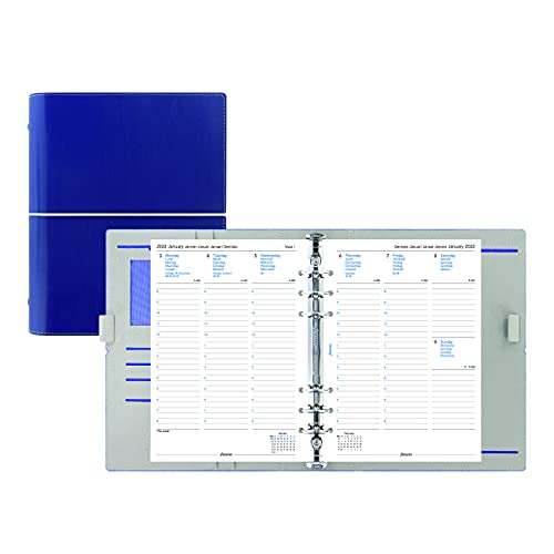 Filofax Domino Organizer, A5 Size, Navy – Leather-Look with Contrast Stitching, Six Rings, Week-to-View Calendar Diary, Multilingual, 2022 (C027982-22)
