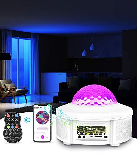 Tesoky Sternenhimmel Projektor,Rotierende Wasserwellen Projektionslampe LED Starry Projector Light Welleneffekt Nachtlichter mit Ferngesteuerte/WIFI/5.0 Bluetooth/Klingt Sensor/Musik Lautsprecher