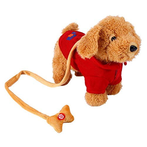 Perro de Peluche Mascotas Electrónicas Perro Juguete Puede cantar música y caminar para mascotas perro del robot electrónicos para los ninos (Rojo)