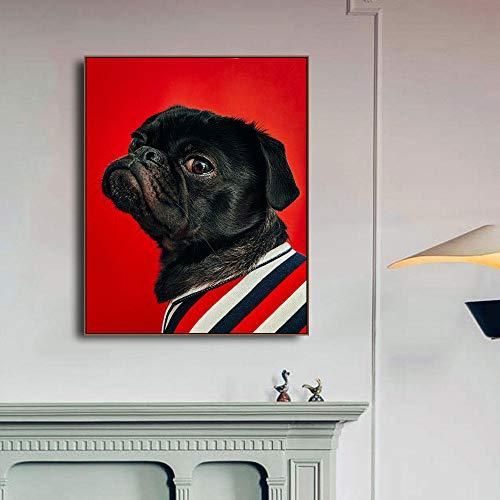 YWOHP Nórdico Interesante Mascota Perro Animal Lienzo Pintura Mural Arte Moderno Sala de Estar decoración de habitación de niños Mural Cuadros-40x50cm