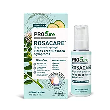 ProCure Rosacare Gel 2 oz Medicated Skincare Treats Redness  Hyalurnoic Acid Redness reducing Licorice & Instant Redness Reduction CC Cream Suitable for Rosacea Sufferers