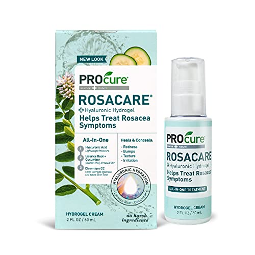 ProCure Rosacare Gel, 2 oz, Medicated Skincare Treats Redness; Hyalurnoic Acid, Redness reducing Licorice & Instant Redness Reduction CC Cream. Suitable for Rosacea Sufferers