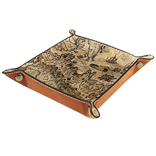 AITAI Bandeja de valet de cuero vegano, organizador de mesita de noche, placa de almacenamiento de escritorio, mapa de fantasía, color marrón