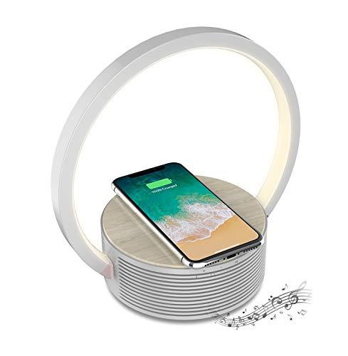 Tragbarer Bluetooth-Lautsprecher mit Berührungssteuerung Nachttischlampe und Qi Drahtloses Ladegerät 3 in 1 Bluetooth 5.0 Lautsprecher Nachtlicht Ladegerät für das Handy mit Stereo-Sound und Rich Bass