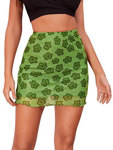 Verdusa Women's Floral Mesh Overlay Elastic Waist Bodycon Mini Skirt Green M