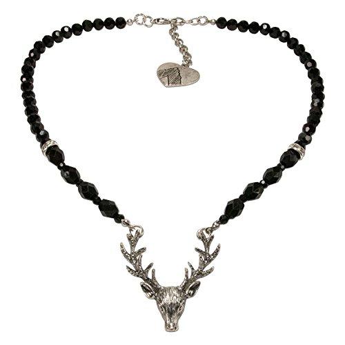 Alpenflüstern Perlen-Trachtenkette Hirsch - Damen-Trachtenschmuck mit Hirsch-Geweih, Elegante Dirndlkette schwarz DHK203