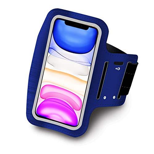 Brazalete Deportivo para Correr Running valido Smartphones hasta 6.8' Neopreno Ajustable Velcro antisudor Antideslizante Brazalete movil Funda movil Bolsillo para Auriculares Llaves (Azul)