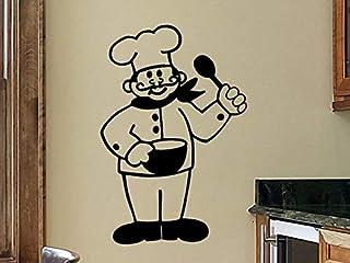 Kitchen Wall Decals Kitchen Wall Decor Chef French Chef Kitchen Wall Decal Wall Sticker Removable Kitchen Decoration Vinyl Sign Wall Decor - Stenver Decals(Bkm1)