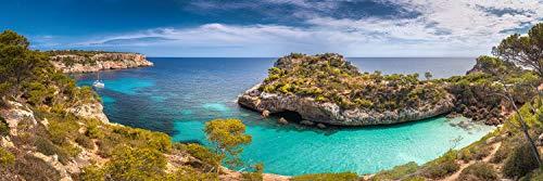 Voss Fine Art Photography Panorama Cuadro de pared sobre aluminio dibond.playa y Bahía Cala Moro con agua turquesa en la isla de Mallorca