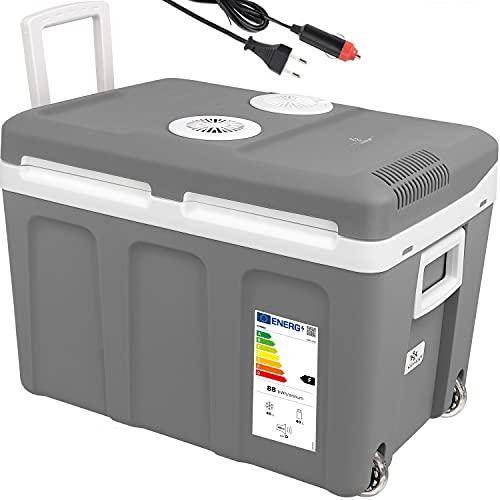 KESSER® 40L Kühlbox mit Rollen   zum Warmhalten und Kühlen   thermo-Elektrische Kühlbox   12 Volt und 230 Volt  Mini-Kühlschrank   Thermobox für Auto  Boot und Camping   EEK A++ mit ECO Modus Grau