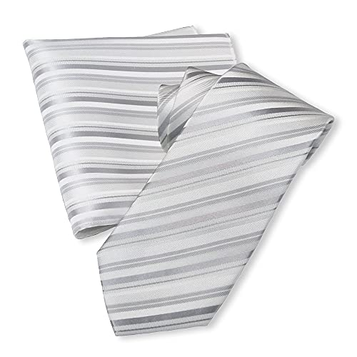 OnCoM 京都西陣織 白地 シルバー グレー ストライプ 結婚式 ネクタイ ハンカチーフセット(thsu1107-002) 日本製