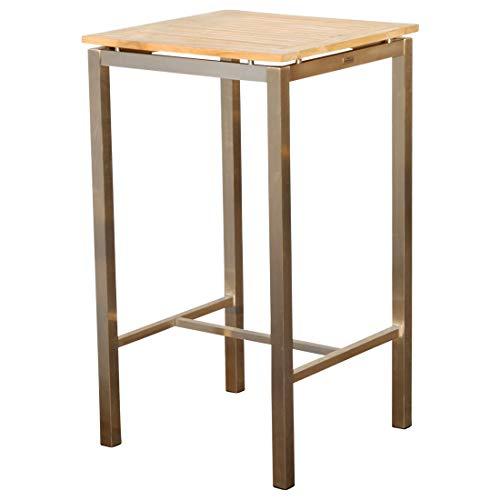 Edelstahl Teak Bartisch 60x60 cm Holztisch Stehtisch Tisch Massive Ausführung A-Grade Teakholz MEXIKO von AS-S