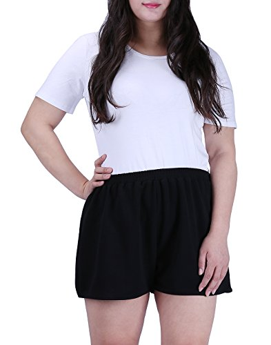 HDE Womens Plus Size Shorts Patterned Casual Pull On Elastic Waist Dress Shorts (Black, 3X)