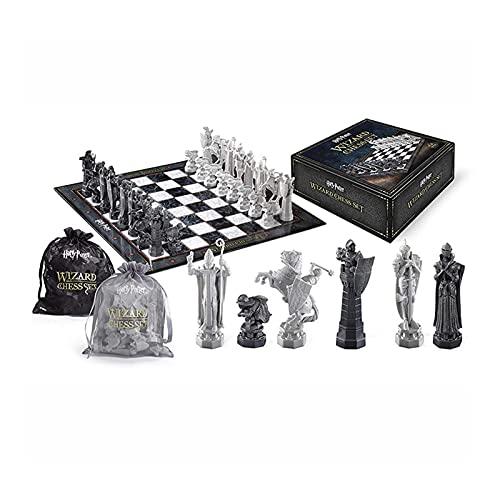 QMMD Jeu D'échecs Harry Potter Wizard 32 Pièces D'échecs en Plastique Exquises Et échiquier en Carton Dur Portable pour Les Activités Familiales Fête d'enfants