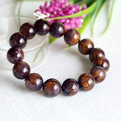 LKBEADS 1 Strands Natural Authentic Gold Purple Titanium Cacoxenite Bracelet 14mm Round Big Beads 14mm 04300 Code-HIGH-29753