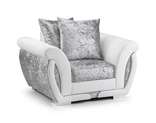 Honeypot - Genoa - Corner - 3 seater - 2 Seater - Arm chair - Swivel chair - Footstool - White/Silver - faux leather/fabric (Armchair)