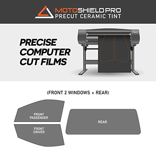 MotoShield Pro - Premium Precut Ceramic Window Tint for 2-Door Truck (Superior Heat Control/Blocks 99% UV) 2mil - Front 2 Sides + Rear Window