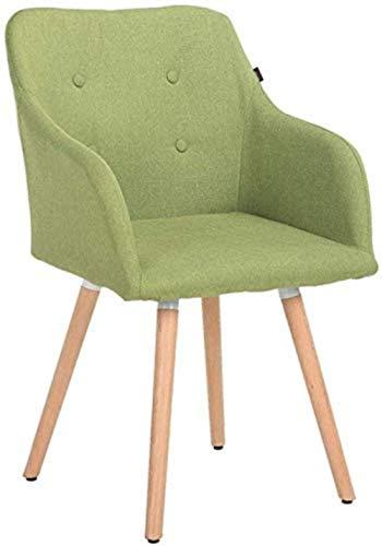 LIUBINGER Silla de Oficina Respaldo de Madera sólida Ordenador Silla Confort Silla de Comedor tapizada Silla de salón (Color : Green)