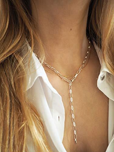 Grobe Halskette 925er Sterlingsilber Verstellbar   Gelbgold, Roségold   MuttertagChoker, Y-Kette, Layering Halskette   Boho Layeringlook   50cm