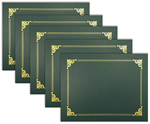 25 Pack Green Certificate Holders, Diploma Holders, Document Covers with Gold Foil Border, by Better Office Products, for Letter Size Paper, 25 Count, Hunter Green