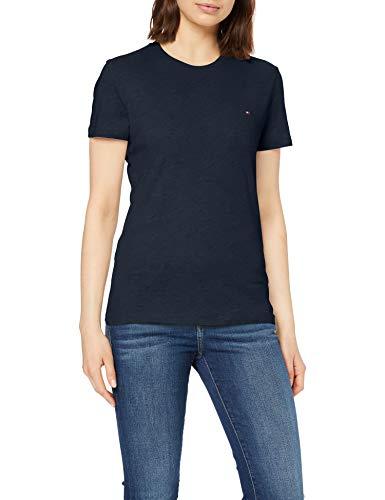 Tommy Hilfiger Damen Heritage Crew Neck Tee T-Shirt, Blau (Midnight 403), One Size (Herstellergröße: XL)