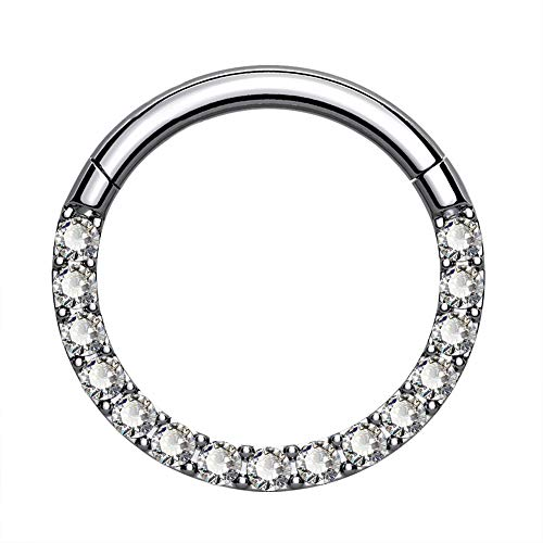 OUFER Titanium Daith Earring Hoop Solid G23 Cartilage Tragus Helix Rings 16G Titanium Septum Piercing Jewelry Hinged Segment Hoop With Clear CZ Paved
