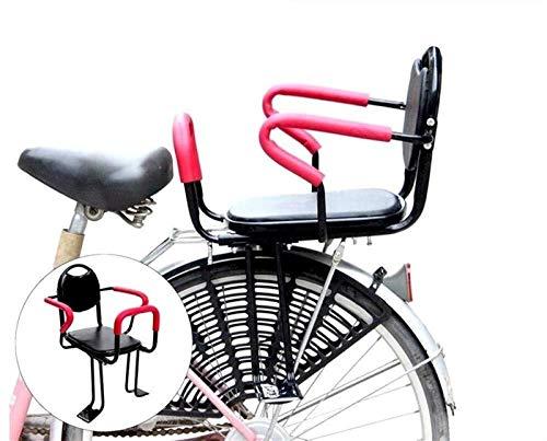 Asiento De Bicicleta para Niños, Asiento De Bicicleta para Portabebés Trasero, con Respaldo De Cojín Pedales/Apoyabrazos Y Valla Desmontable, para Asiento De Niño De 2 A 8 Años