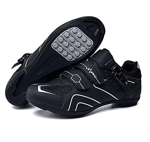 Uhclrr Zapatillas de ciclismo antideslizantes de fibra transpirable para bicicleta de carretera y montaña, zapatos deportivos asistidos con tiras reflectantes (44, gris+negro)