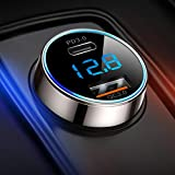 20W USB C Car Charger [Pure Copper], SUPERONE 38W Dual USB Car Charger Adapter with 20W PD Port, QC 3.0 and LED Voltmeter for iPhone 12, 12 Pro, 12 Pro Max, 12 Mini, Samsung, Google Pixel and More