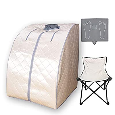 Smartmak Far Infrared Sauna X-Large, One Person Full Body at Home Weight Loss Oversized SPA Box with Upgraded Foot Pad and Reinforced Portable Chair