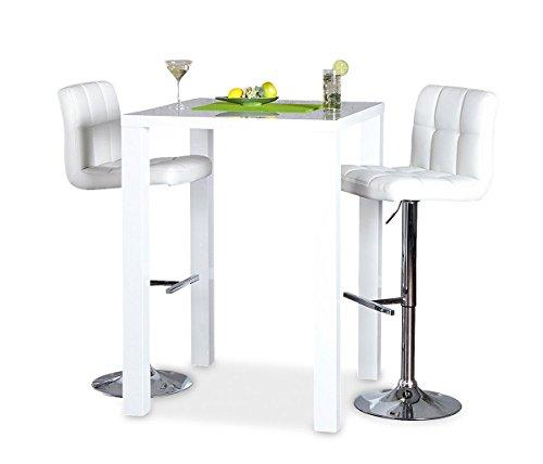 levandeo Bar-Tisch Tresen Weiß Hochglanz Stehtisch Bartresen - 2
