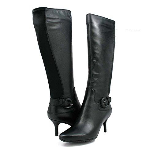 SoleMani Women's Rochelle 13' Slim Calf Women Black Leather Dress Boots 6.5