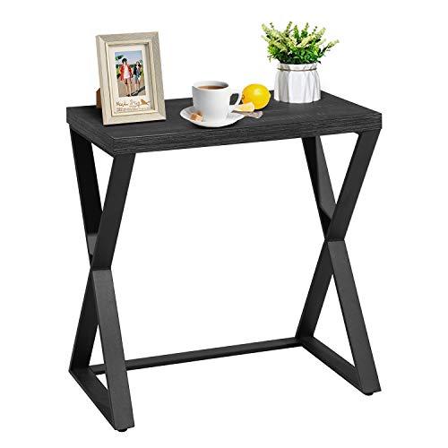 FurnitureR Mesa auxiliar, mesa auxiliar industrial, mesa de centro, mesita de noche con escritorio de madera y marco de metal en forma de X, fácil de montar, para sala de estar,...