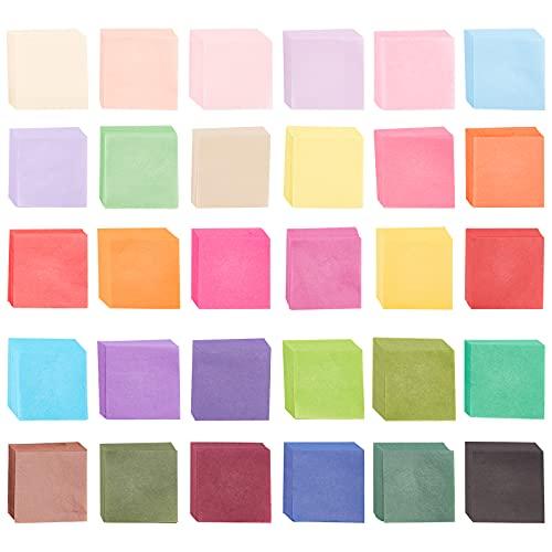 NBEADS 3000 piezas de papel de seda cuadrado, 30 colores surtidos arco iris de papel de seda para manualidades, manualidades,...