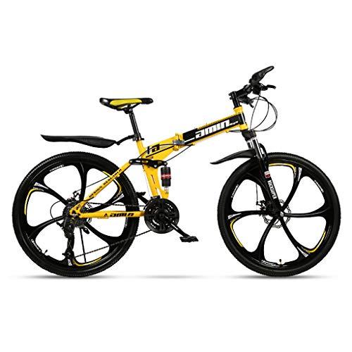 Vehículos de carretera de montaña para adultos Bicicleta de montaña de suspensión completa con llanta de seis pulgadas Rueda de engranaje de bicicleta de 21 velocidades Aleación de doble disco Bicic