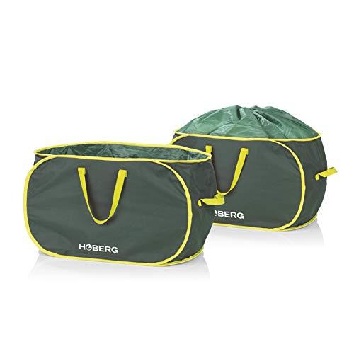 Hoberg Gartenabfalltaschen | 2x 85 Liter | selbstaufstellend, verschließbar, robust & 3 Tragegriffe | Belastbarkeit ca. 40 kg [600D-Oxford-Polyester]