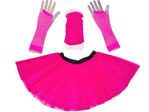 Just 4 Fun Leisurewear Neon Pink 3 Layer Tutu Set Leg Warmer Fishnet Gloves Size 8 To 16