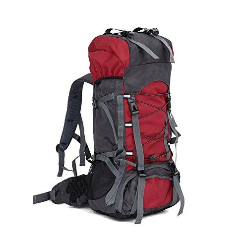 Lokep Sac à dos de randonnée étanche avec structure interne 60L Unisexe Grand format moyen Red