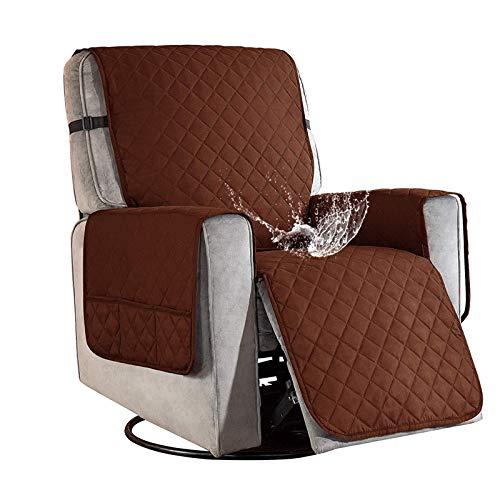 Sesselschoner für Fernsehsessel Relaxsessel, 1 Sitzer Sesselschoner mit Taschen Braun Sesselauflage Relaxsessel Sesselüberwurf Wasserdicht Sesselschutz Sofaüberwurf für Hunde Haustieren