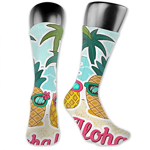 Aloha Pineapple Basketball Socks Men Women Running Crew Socks Youth Boy Girl Hiking Cushion Socks 30cm