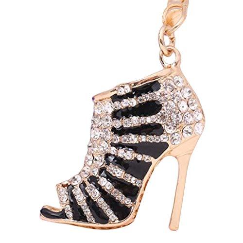 GOMYIE 3D High Heeled Shoes Keyring Rhinestone Keychain Phone Handbag Pendant For Women And Girls,black