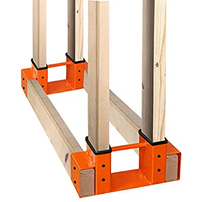 SnugNiture Firewood Log Storage Rack Bracket Kit with Screws, Fireplace Wood Storage Holder. Powder Coated Heavy Duty Steel and Adjustable to Any Length for Fitting Indoor/Outdoor, Orange