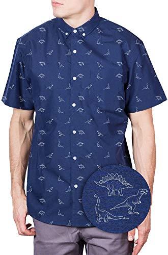 Visive Hawaiian Shirt Big and Tall for Men Jerassic Parck Dinosaur Button Up Short Sleeve Navy Dino 3XL