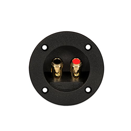 Goldwood Sound Speaker Box Terminal Cups 2 Round Power Speaker Terminal Plates Black (RGT-5050-2)