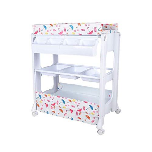 LZQBD Family Care/Infant Wickeltisch mit Rädern und Pad ändern Fach for Dresser Newborn-Station Wicke Stationen for das Schlafzimmer ändern Pad und Haltegurt Baby-Pflegestation