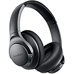 Cuffie Bluetooth Soundcore Life Q20, cuffie bluetooth over ear ANC, 30 ore di riproduzione, audio hi-res, bassi profondi, memory foam, cuffie sovrauricolari wireless da viaggio