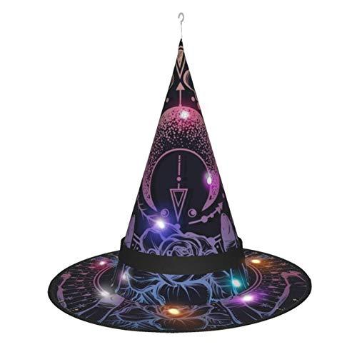MXDISIWD Astrologa Mgica Sombrero de Bruja de Halloween con Disfraz de Bruja Luz para Fiesta de Halloween