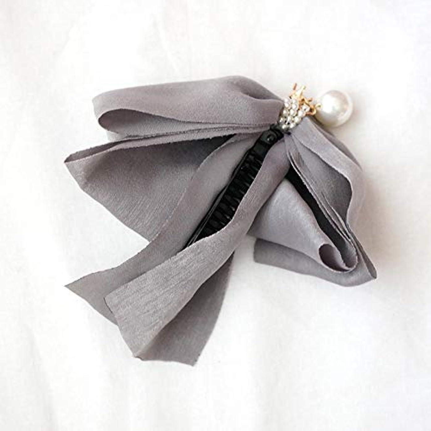 隠す権威精巧なHuaQingPiJu-JP ファッションロゼットヘアピン便利なヘアクリップ女性の結婚式のアクセサリー(グレー)